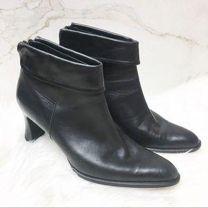 Amalfi Italian Black Leather Heel Ankle Booties 8